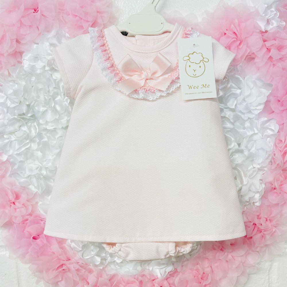 * Baby Girl Spanish Pink Waffle Dress Frilly Front with Pants